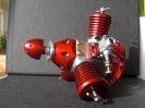3-Zylinder-Modellsternmotor rot